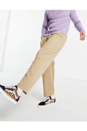 ASOS Oversized tapered elegante bukser i beige-Stenfarvet