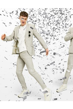 ASOS Wedding - Super Skinny-habitbukser med små pepitatern i beige uldblanding-Stenfarvet