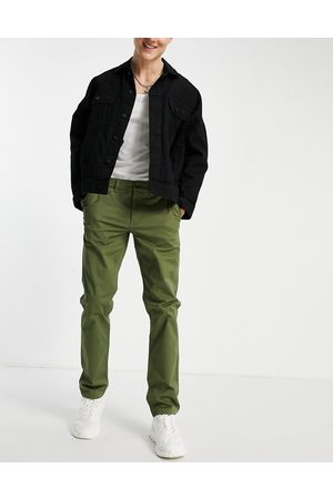 New Look Mænd Chinos - Smalle chino-bukser i khaki-Grøn