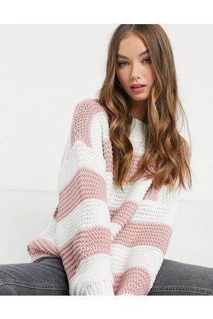 In The Style X Billie Faiers - Oversized trøje i lyserød, stribet strik med kontrastfarve-Pink