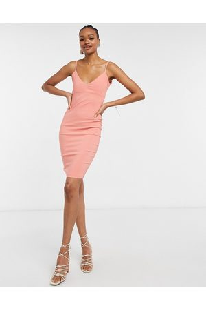 Vesper Koralfarvet bodycon-midikjole med stropper-Orange