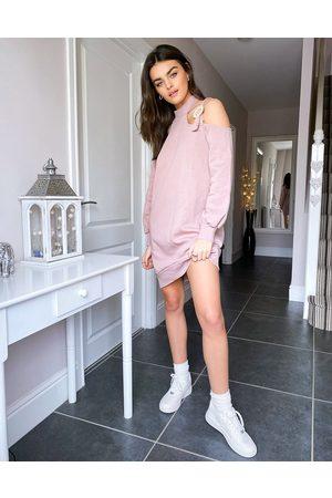 River Island Pink minisweatshirt-kjole med udskæring-Lyserød