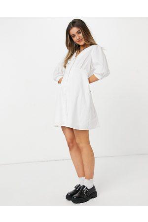 New Look Minikjole med knapstolpe og krave i poplin