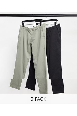 Jack & Jones Intelligence - Pakke med 2 par tapered slim-chinos i og støvet olivengrøn-Multifarvet