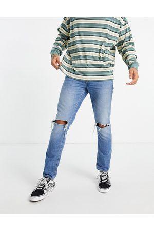 ASOS Blå slim-jeans i vintage mid wash med flænger på knæet