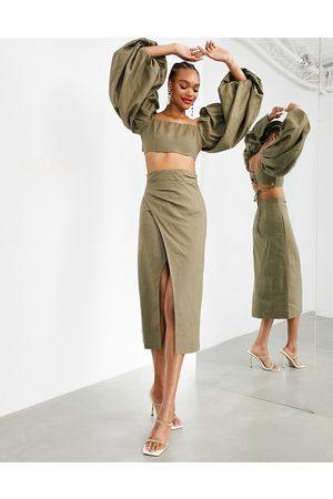 ASOS Midaxinederdel med lårhøj slids - Del af sæt-Grøn