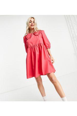 New Look Ensfarvet poplin-kjole med krave i lyserød