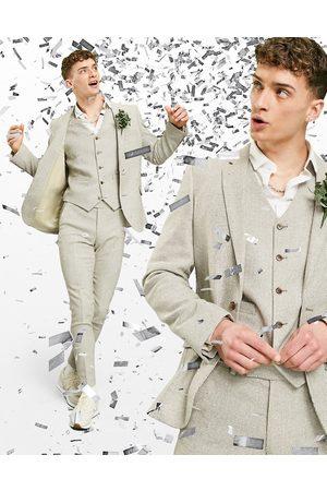 ASOS Wedding - Super Skinny habitjakke i beige uldblanding med pepitatern-Stenfarvet
