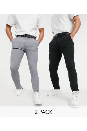 ASOS Multipakke med superskinny smarte bukser i sort og grå