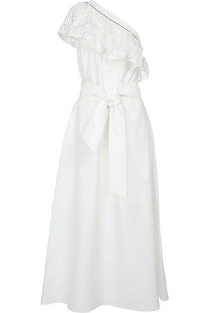 Brunello Cucinelli One-shoulder cotton-blend midi dress