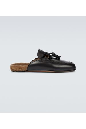 Tom Ford Leather shearling slippers