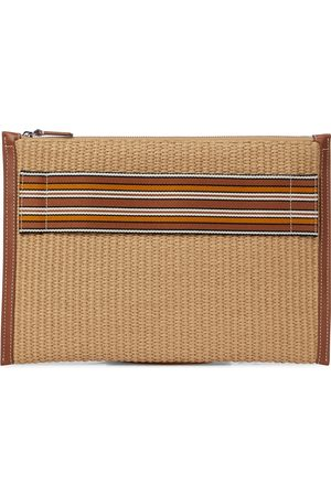 Loro Piana The Suitcase Stripe raffia pouch