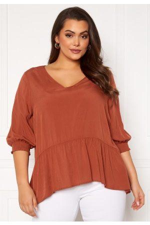 Carmakoma Kvinder Casual skjorter - Lota 3/4 V-Neck Top Arabian Spice 52