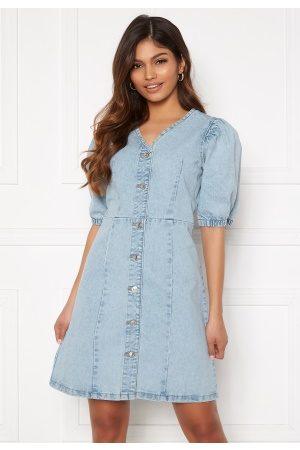 Pieces Gili SS V-Neck Dress Light Blue Denim L