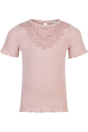 Minymo Kortærmede - T-shirt - Rib - Rose Smoke m. Blonder