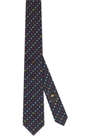 Gucci Mænd Slips - Interlocking G and flowers silk tie