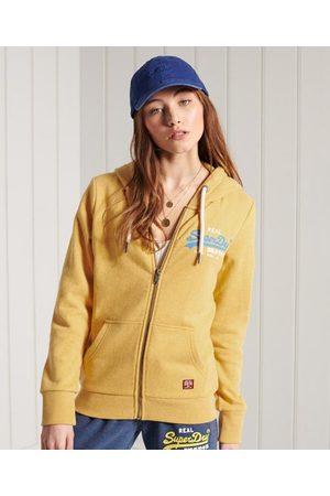 Superdry Kvinder Sweatshirts - Tofarvet Vintage Logo hættetrøje med lynlås og loopback-for