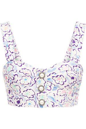 Alessandra Rich Printed Cotton Gabardine Bralette Top