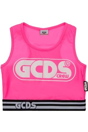 GCDS Jersey Stretch Crop Tank Top