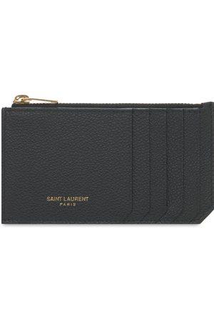 Saint Laurent Fragments Grain Leather Zip Card Holder