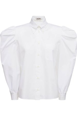 Miu Miu Cotton Poplin Shirt W/victorian Sleeves