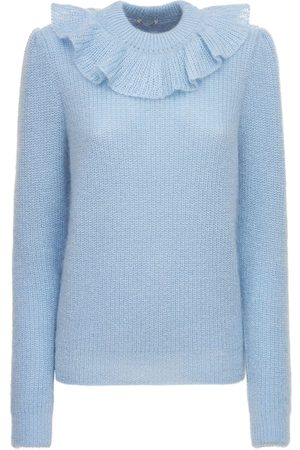 Miu Miu Mohair Knitted Cardigan W/ Ruffles