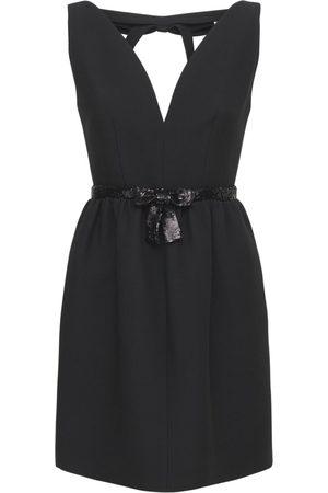 Miu Miu Tricot V Neck Mini Dress W/ Sequins