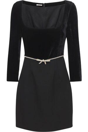 Miu Miu Velvet & Grain De Poudre Mini Dress