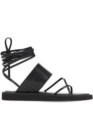 PARIS TEXAS 20mm Python Print Leather Thong Sandals