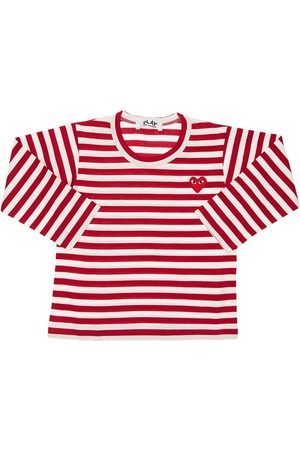 Comme des Garçons Drenge Kortærmede - Striped Cotton Jersey T-shirt
