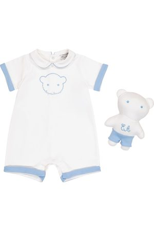 Emporio Armani Baby cotton playsuit and soft toy set