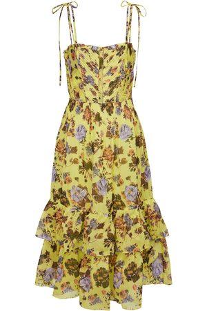 ULLA JOHNSON Loraine floral cotton-blend midi dress