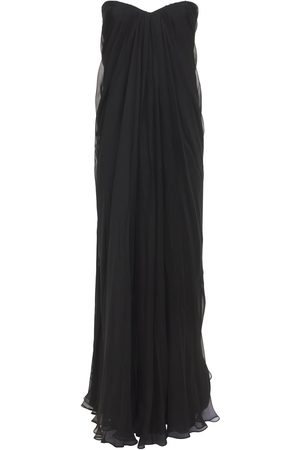 Alexander McQueen Draped Silk Chiffon Long Dress