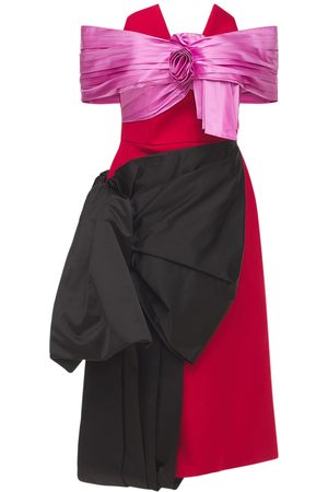 Prada Off Shoulder Duchesse & Gabardine Dress