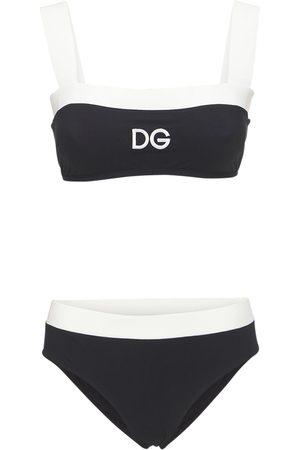 Dolce & Gabbana Bicolor Jersey Bikini Swimsuit