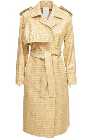 THEMOIRÈ Croc Embossed Faux Leather Trench Coat