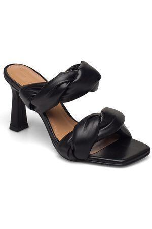 Flattered Kvinder Pumps sandaler - River Black Leather Sandal Med Hæl