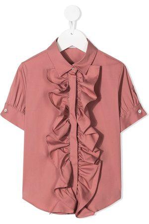 Brunello Cucinelli Skjorte med korte ærmer og flæser