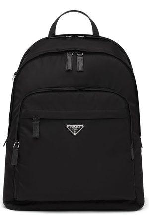 Prada Re-Nylon rygsæk med lynlås og logo