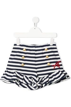 Alberta Ferretti Stribede shorts med logotryk