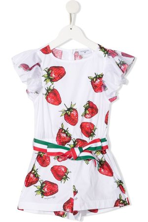 MONNALISA Strawberry-print cotton playsuit