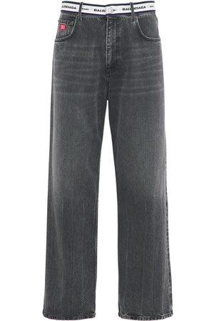 Balenciaga Logo Waistband Cotton Denim Jeans