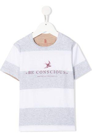 Brunello Cucinelli Drenge Kortærmede - Be Conscious striped T-shirt