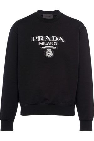 Prada Intarsiastrikket sweatshirt med logo