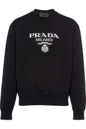 Prada Mænd Sweatshirts - Intarsiastrikket sweatshirt med logo