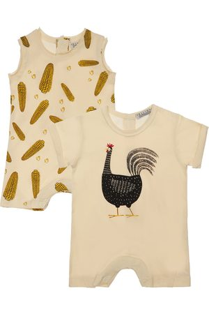 YELLOWSUB Piger Bodies - Set Of 2 Printed Cotton Jersey Rompers