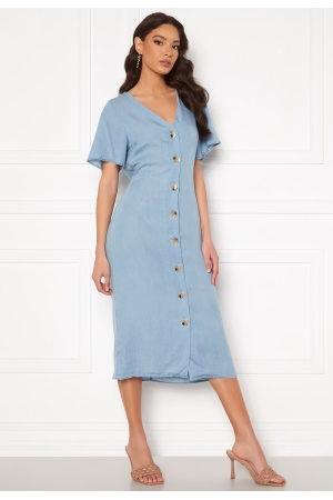 Vero Moda Viviana Ss Calf Dress Light Blue Denim L