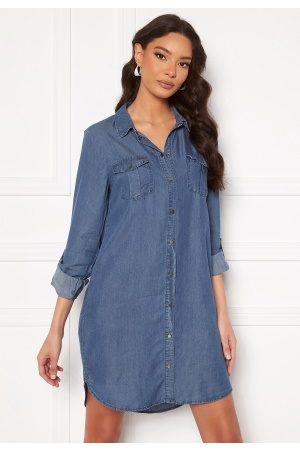 Vero Moda Silla LS Short Dress Medium Blue Denim S