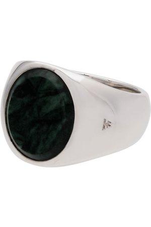 TOM WOOD Mænd Ringe - Metallisk ovalformet ring i grøn marmor og sterling sølv
