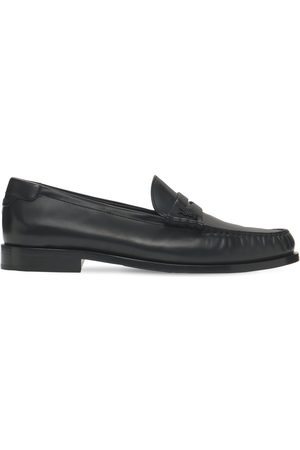Saint Laurent Monogram Penny Leather Loafers